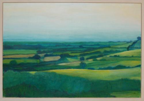 View from a hill, Brill by Cait Sweeney. 129x90cm. muslin and acrylic paint on plywood. framed